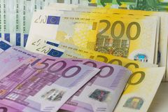 Different euro banknotes cash royalty free stock photo