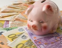 Different euro banknotes cash and piggy stock photography
