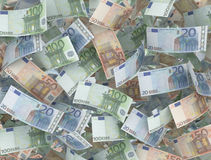 Different Euro banknotes. Close up background royalty free illustration