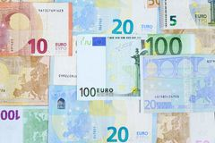 Different euro banknotes. Royalty Free Stock Images