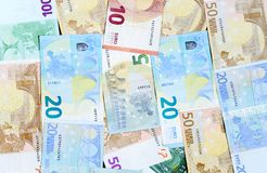 Different euro banknotes. Royalty Free Stock Photography
