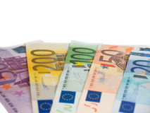 Different euro banknotes isolated on white Stock Photos