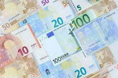 Different euro banknotes. Stock Photo
