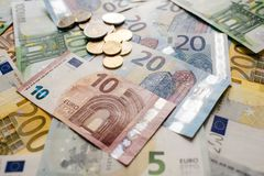 Euro Money. euro cash background. Euro Banknotes. Different Euro banknotes from 5 to 500 Euro Stock Images
