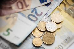 Euro Money. euro cash background. Euro Banknotes. Different Euro banknotes from 5 to 500 Euro Royalty Free Stock Photo