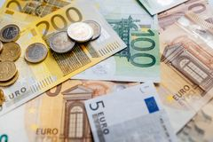 Euro Money. euro cash background. Euro Banknotes. Different Euro banknotes from 5 to 500 Euro Royalty Free Stock Photography