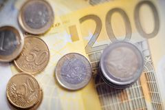 Euro Money. euro cash background. Euro Banknotes. Different Euro banknotes from 5 to 500 Euro Stock Image