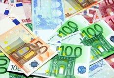 Different euro bills. Mixed euro bills Royalty Free Stock Photo