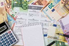 Different euro bills with 2017 calendar. And pen Stock Image