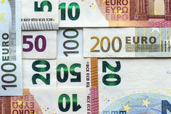 Different Euro bills money for background Royalty Free Stock Photos