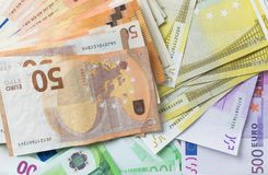 Different euro cashin background stock images
