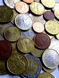 Different Euro coins. Bunch of different coins of European currency money royalty free stock photo