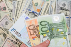 Different euro and dollar bills Royalty Free Stock Image