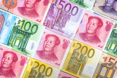 different euro and yuan bills Stock Photo
