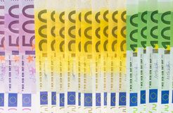 Different euro banknotes cash stock photos