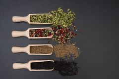 Different exotic spices on a black background royalty free stock photos