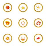 Different explosion icons set, cartoon style. Different explosion icons set. Cartoon style set of 9 different explosion vector icons for web design Stock Photography