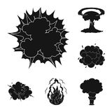 Different explosions black icons in set collection for design.Flash and flame vector symbol stock web illustration. Different explosions black icons in set Royalty Free Stock Photography