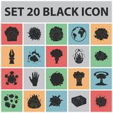 Different explosions black icons in set collection for design.Flash and flame vector symbol stock web illustration. Different explosions black icons in set Royalty Free Stock Photo