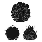 Different explosions black icons in set collection for design.Flash and flame vector symbol stock web illustration. Different explosions black icons in set Royalty Free Stock Images