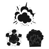 Different explosions black icons in set collection for design.Flash and flame vector symbol stock web illustration. Different explosions black icons in set Royalty Free Stock Photos