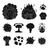Different explosions black icons in set collection for design.Flash and flame vector symbol stock web illustration. Different explosions black icons in set Royalty Free Stock Image