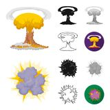 Different explosions cartoon,black,flat,monochrome,outline icons in set collection for design.Flash and flame vector. Symbol stock  illustration Stock Photo