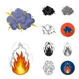 Different explosions cartoon,black,flat,monochrome,outline icons in set collection for design.Flash and flame vector. Symbol stock  illustration Royalty Free Stock Photography