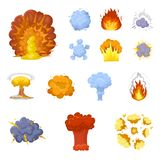 Different explosions cartoon icons in set collection for design.Flash and flame vector symbol stock web illustration. Different explosions cartoon icons in set Stock Photo