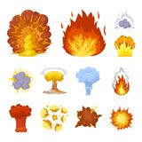 Different explosions cartoon icons in set collection for design.Flash and flame vector symbol stock web illustration. Different explosions cartoon icons in set Royalty Free Stock Photography