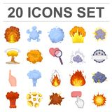 Different explosions cartoon icons in set collection for design.Flash and flame vector symbol stock web illustration. Different explosions cartoon icons in set Royalty Free Stock Photos