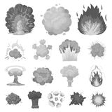 Different explosions monochrome icons in set collection for design.Flash and flame vector symbol stock web illustration. Different explosions monochrome icons Royalty Free Stock Image