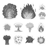 Different explosions monochrome icons in set collection for design.Flash and flame vector symbol stock web illustration. Different explosions monochrome icons Stock Image