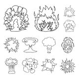 Different explosions outline icons in set collection for design.Flash and flame vector symbol stock web illustration. Different explosions outline icons in set Stock Photos