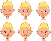 Different expressions of boy face Stock Photos