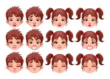 Different expressions of boy and girl Royalty Free Stock Image