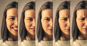 Different expressions. On the same female face Stock Photos