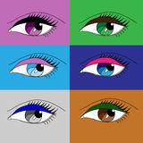 Different eye makeup Stock Images