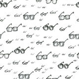 Different eyeglasses types seamless pattern, hand drawn doodle style vector. Black and white sketch illustration. Square Stock Images