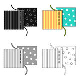 Different fabrics are sewn with thread.Sewing or tailoring tools kit single icon in cartoon style vector symbol stock Royalty Free Stock Photography