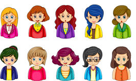 Different faces of the businesswomen. Illustration of the different faces of the businesswomen on a white background Royalty Free Stock Photography