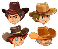 Different faces of four cowboys. Illustration of the different faces of four cowboys on a white background Stock Photo