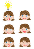 Different faces girl Royalty Free Stock Images