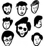 Different faces and hairstyle royalty free illustration