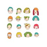 Different faces. Hand drawing isolated objects vector illustration