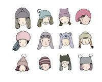 Different faces. People in winter hats. Hand drawing objects on white background. royalty free illustration