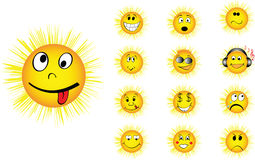 Different faces of sun. Sun with different funny faces Royalty Free Stock Photo