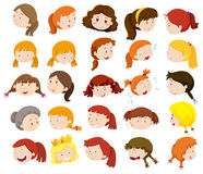Different faces of women and girls Stock Photo