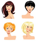 Different faces of women with hairstyles Royalty Free Stock Photography