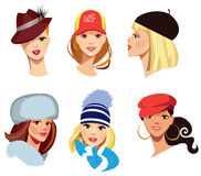 Different faces of women in hats stock illustration